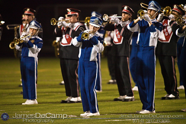 Bexley High School's and Whitehall Yearling High School's combined Marching Bands playing during the halftime show at Bexley High School Thursday night September 16, 2010.  (©2010 James D. DeCamp) http://www.JamesDeCamp.com