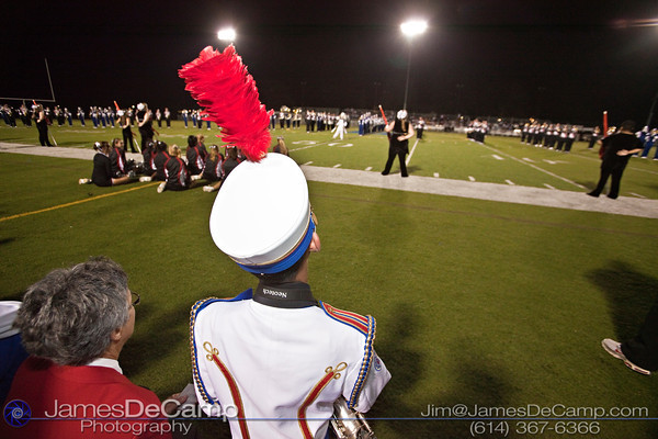 Ohio State School for the Blind Band Member Nien Nguyen and his guide Maryann Stockum, left, watch as the Bexley High School and Whitehall Yearling High School combined bands play during the halftime show at Bexley High School Thursday night September 16, 2010.  (©2010 James D. DeCamp) http://www.JamesDeCamp.com