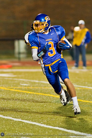 Gahanna High School's #9 Julian Lowe runs the ball in for a touchdown in the second quarter of play at Gahanna High School Friday night October 22, 2010.(© James D. DeCamp / http://www.OhioPhotojournalist.com / 614-367-6366)