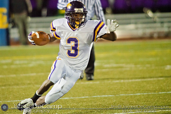Reynoldsburg High School's #3 Stanley Peterson runs the ball in the second quarter of play at Gahanna High School Friday night October 22, 2010.(© James D. DeCamp / http://www.OhioPhotojournalist.com / 614-367-6366)