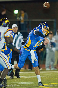 Gahanna High School's #14 Tanner Zwelling unloads the ball against Reynoldsburg High School in the second quarter of play at Gahanna High School Friday night October 22, 2010.(© James D. DeCamp / http://www.OhioPhotojournalist.com / 614-367-6366)