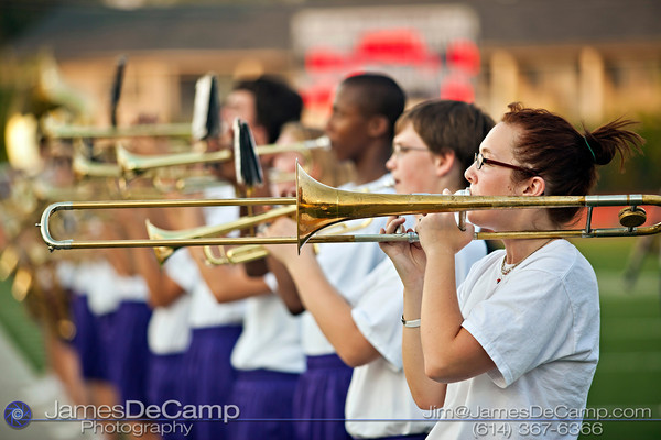 St. Francis DeSales High School's Brenda Hahn plays with the marching band before their game against Brookhaven High School  at St. Francis DeSales High School Friday night September 2, 2011. (©2011 James D. DeCamp   614-367-6366   http://www.JamesDeCamp.com)