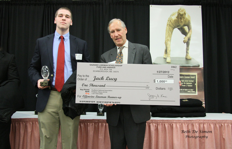 Jack Lucy Offensive Lineman Finalist from Pronoun HS receives Awards from Jeff Kane.