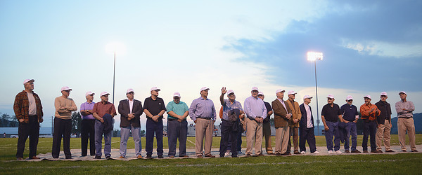 The undefeated Danville High School Football Team of 1962 is honored before the homecoming football game against Jersey Shore on Friday night.