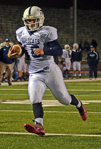 Mifflinburg Wildcats' Oakley Whitesel scores the only touchdown of the night for Mifflinburg during their 6-38 loss against Lewisburg Green Dragons on Friday night at Bucknell University.