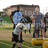 Several players from the Oklahoma Thunder gave some time to provide a few pointers to a Broken Arrow youth football team.