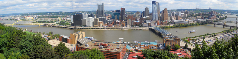 A panorama of Pittsburgh from Mt. Washington, across the river.