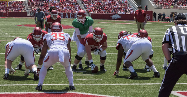 Arkansas Red-White Spring Football Game on Saturday, April 25, 2015 in Fayetteville, Arkansas at Donald W. Reynolds Razorback Stadium.  The Red team won 62-18 in front of an official attendance of 41,220 fans.   (Alan Jamison, Nate Allen Sports Service)