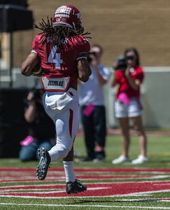 Senior Wide Receiver Keon Hatcher catches and runs for a touchdown during the Arkansas Red-White Spring Football Game on Saturday, April 25, 2015 in Fayetteville, Arkansas at Donald W. Reynolds Razorback Stadium.  The Red team won 62-18 in front of an official attendance of 41,220 fans.   (Alan Jamison, Nate Allen Sports Service)
