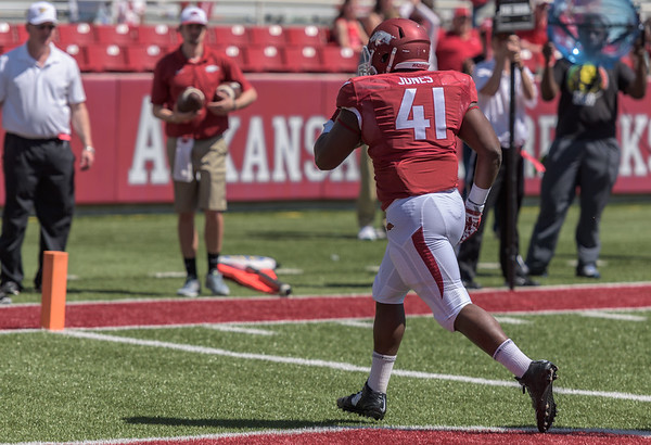 Fullback Chris Jones with a touchdown catch and run during the Arkansas Red-White Spring Football Game on Saturday, April 25, 2015 in Fayetteville, Arkansas at Donald W. Reynolds Razorback Stadium.  The Red team won 62-18 in front of an official attendance of 41,220 fans.   (Alan Jamison, Nate Allen Sports Service)