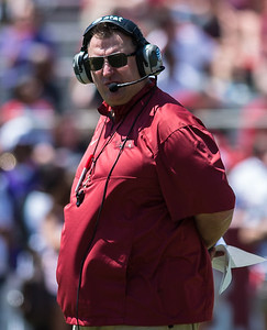 Arkansas Head Coach Bret Bielema watches during the Arkansas Red-White Spring Football Game on Saturday, April 25, 2015 in Fayetteville, Arkansas at Donald W. Reynolds Razorback Stadium.  The Red team won 62-18 in front of an official attendance of 41,220 fans.     (Alan Jamison, Nate Allen Sports Service)
