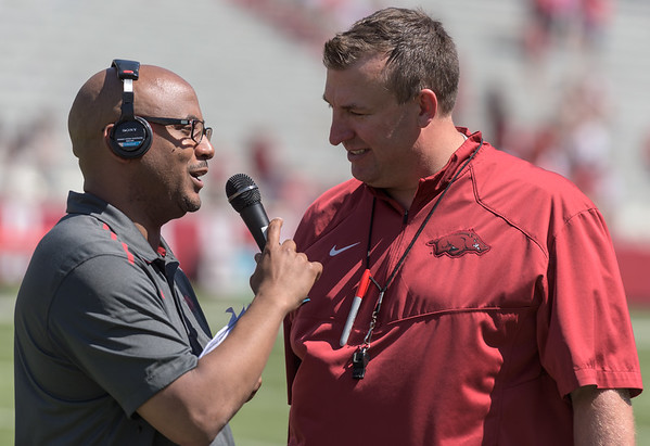Post-game interview with Head Coach Bret Bielema after the Arkansas Red-White Spring Football Game on Saturday, April 25, 2015 in Fayetteville, Arkansas at Donald W. Reynolds Razorback Stadium.  The Red team won 62-18 in front of an official attendance of 41,220 fans.   (Alan Jamison, Nate Allen Sports Service)