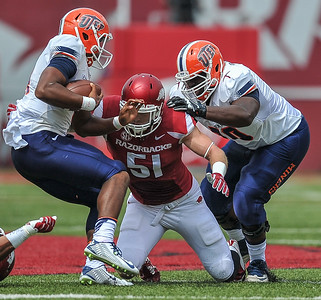 Brooks Ellis with a tackle during a football game between the Arkansas Razorbacks and the UTEP Miners on Saturday, September 5, 2015 at the  Donald W. Reynolds Razorback Stadium in Fayetteville, Arkansas.  Arkansas won the game 48-13.  (Alan Jamison, Nate Allen Sports Service).