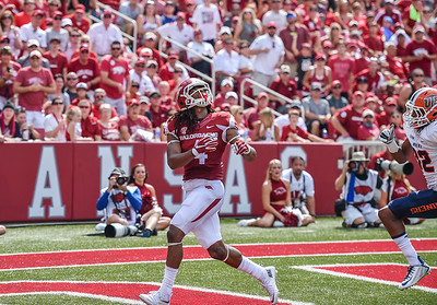 Keon Hatcher prepares to catch a touchdown pass during a football game between the Arkansas Razorbacks and the UTEP Miners on Saturday, September 5, 2015 at the  Donald W. Reynolds Razorback Stadium in Fayetteville, Arkansas.  Arkansas won the game 48-13.  (Alan Jamison, Nate Allen Sports Service).