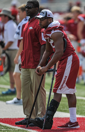 Jonathan Williams during a football game between the Arkansas Razorbacks and the UTEP Miners on Saturday, September 5, 2015 at the  Donald W. Reynolds Razorback Stadium in Fayetteville, Arkansas.  Arkansas won the game 48-13.  (Alan Jamison, Nate Allen Sports Service).