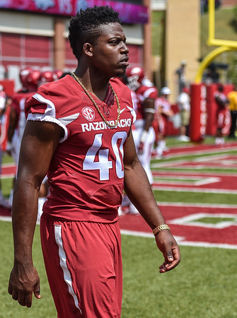 Jamario Bell on the field before a football game between the Arkansas Razorbacks and the UTEP Miners on Saturday, September 5, 2015 at the  Donald W. Reynolds Razorback Stadium in Fayetteville, Arkansas.  Arkansas won the game 48-13.  (Alan Jamison, Nate Allen Sports Service).