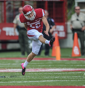 Lane Saling handled kickoffs during a football game between the Arkansas Razorbacks and the UTEP Miners on Saturday, September 5, 2015 at the  Donald W. Reynolds Razorback Stadium in Fayetteville, Arkansas.  Arkansas won the game 48-13.  (Alan Jamison, Nate Allen Sports Service).