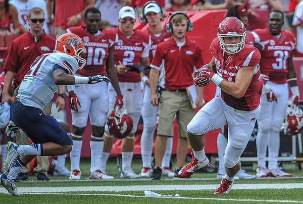 Arkansas Razorbacks tight end Hunter Henry (84) with a catch and run during a football game between the Arkansas Razorbacks and the UTEP Miners on Saturday, September 5, 2015 at the  Donald W. Reynolds Razorback Stadium in Fayetteville, Arkansas.  Arkansas won the game 48-13.  (Alan Jamison, Nate Allen Sports Service).