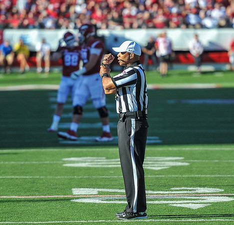 Jared Cornelius' touchdown play was invalidated due to a holding call during a football game between the Arkansas Razorbacks and the Toledo Rockets on Saturday, 9/12/2015.  Toledo won 16-12.   (Alan Jamison, Nate Allen Sports Service)