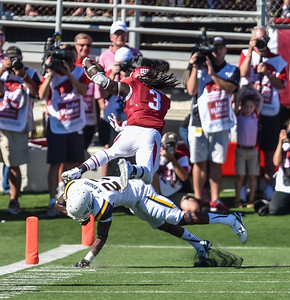 Toledo strong safety Delando Johnson attempts to keep Alex Collins out the end zone during a football game between the Arkansas Razorbacks and the Toledo Rockets on Saturday, 9/12/2015.  Toledo won 16-12.   (Alan Jamison, Nate Allen Sports Service)