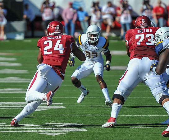 Kody Walker with a carry during a football game between the Arkansas Razorbacks and the Toledo Rockets on Saturday, 9/12/2015.  Toledo won 16-12.   (Alan Jamison, Nate Allen Sports Service)