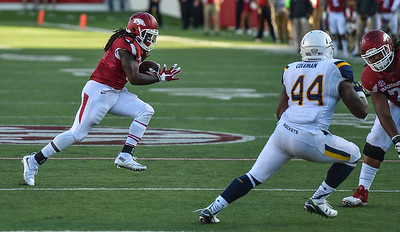Alex Collins runs with the ball during a football game between the Arkansas Razorbacks and the Toledo Rockets on Saturday, 9/12/2015.  Toledo won 16-12.   (Alan Jamison, Nate Allen Sports Service)