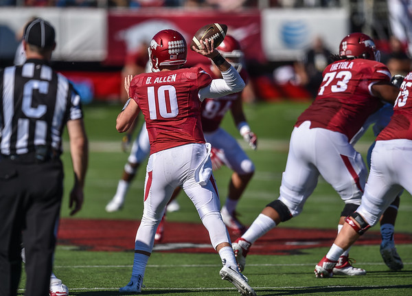 Brandon Allen passes during a football game between the Arkansas Razorbacks and the Toledo Rockets on Saturday, 9/12/2015.  Toledo won 16-12.   (Alan Jamison, Nate Allen Sports Service)