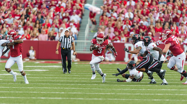 Alex Collins with a rush during a football game between the Arkansas Razorbacks and the Texas Tech Red Raiders at Reynolds Razorback Stadium at the University of Arkansas in Fayetteville, Arkansas.   Texas Tech won 35-24.  (Alan Jamison, Nate Allen Sports Service)
