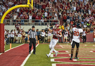 Arkansas wide receiver Drew Morgan (80) in the end zone after a touchdown reception during a football game between the Arkansas Razorbacks and the Texas Tech Red Raiders at Reynolds Razorback Stadium at the University of Arkansas in Fayetteville, Arkansas.   Texas Tech won 35-24.  (Alan Jamison, Nate Allen Sports Service)
