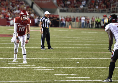Brandon Allen lines up as a receiver during a wild hog play with Damon Williams as QB during a football game between the Arkansas Razorbacks and the Texas Tech Red Raiders at Reynolds Razorback Stadium at the University of Arkansas in Fayetteville, Arkansas.   Texas Tech won 35-24.  (Alan Jamison, Nate Allen Sports Service)
