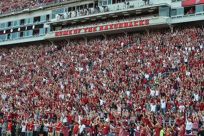 Fans call the hogs during a football game between the Arkansas Razorbacks and the Texas Tech Red Raiders at Reynolds Razorback Stadium at the University of Arkansas in Fayetteville, Arkansas.   Texas Tech won 35-24.  (Alan Jamison, Nate Allen Sports Service)