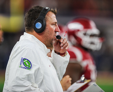 Head coach Bret Bielema during the Southwest Classic game between the Arkansas Razorbacks and the Texas A&M Aggies at AT&T Stadium in Arlington, Texas.   (Alan Jamison, Nate Allen Sports Service)