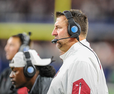 Head coach Bret Bielema during the Southwest Classic game between the Arkansas Razorbacks and the Texas A&M Aggies at AT&T Stadium in Arlington, Texas.  Texas A&M won 28-21 in overtime.   (Alan Jamison, Nate Allen Sports Service)