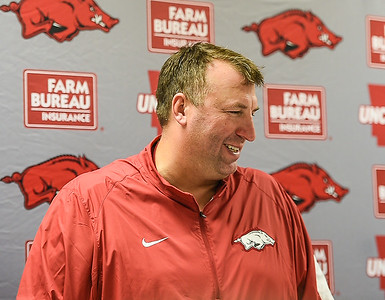 Head coach Bret Bielema meets with the media after his first SEC road win at Neyland Stadium in Knoxville, Tennesee.     Arkansas won 24-20.  (Alan Jamison, Nate Allen Sports Service)