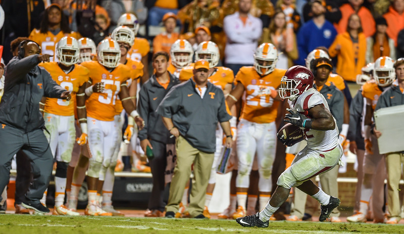 Arkansas Razorbacks running back Rawleigh Williams (22) rushed for 100 yards during a football game between the Arkansas Razorbacks and the Tennessee Volunteers at Neyland Stadium in Knoxville, Tennesee.     Arkansas won 24-20.  (Alan Jamison, Nate Allen Sports Service)