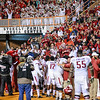 Players celebrate with fans after winning the football game between the Arkansas Razorbacks and the Tennessee Volunteers at Neyland Stadium in Knoxville, Tennesee.     Arkansas won 24-20.  (Alan Jamison, Nate Allen Sports Service)