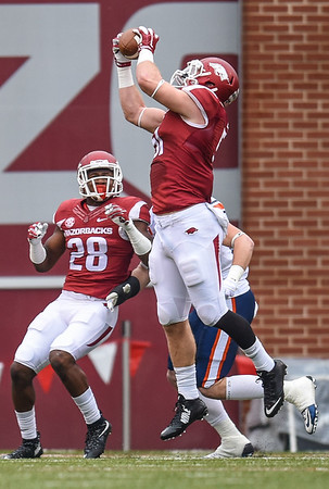 Brooks Ellis with an interception during a football game between the Arkansas Razorbacks and the UT Martin Skyhawks in Reynolds Razorback Stadium on October 31, 2015.   Arkansas led 35-14 at the half (Alan Jamison, Nate Allen Sports Service)
