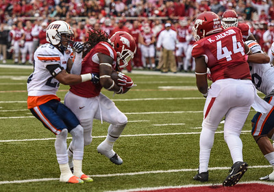 Alex Collins with a rush during a football game between the Arkansas Razorbacks and the UT Martin Skyhawks in Reynolds Razorback Stadium on October 31, 2015.   Arkansas led 35-14 at the half (Alan Jamison, Nate Allen Sports Service)