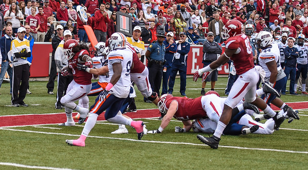 Alex Collins rushes during a football game between the Arkansas Razorbacks and the UT Martin Skyhawks in Reynolds Razorback Stadium on October 31, 2015.   Arkansas led 35-14 at the half (Alan Jamison, Nate Allen Sports Service)