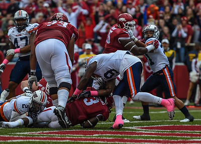 Alex Collins with a rushing touchdown during a football game between the Arkansas Razorbacks and the UT Martin Skyhawks in Reynolds Razorback Stadium on October 31, 2015.   Arkansas led 35-14 at the half (Alan Jamison, Nate Allen Sports Service)