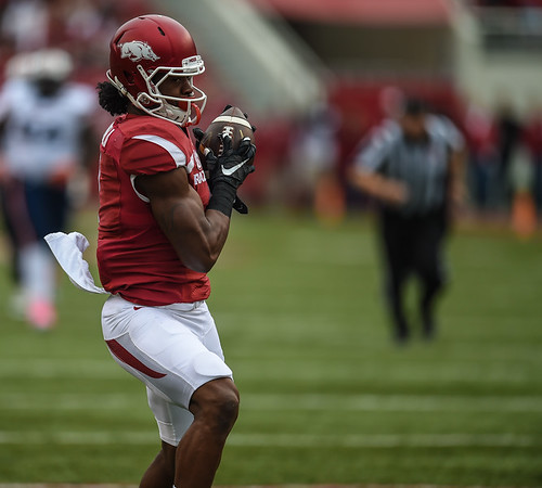 Duwop Mitchell with touchdown pass reception during a football game between the Arkansas Razorbacks and the UT Martin Skyhawks in Reynolds Razorback Stadium on October 31, 2015.   Arkansas led 35-14 at the half (Alan Jamison, Nate Allen Sports Service)