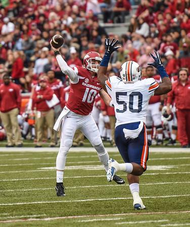 Brandon Allen passes during a football game between the Arkansas Razorbacks and the UT Martin Skyhawks in Reynolds Razorback Stadium on October 31, 2015.   Arkansas led 35-14 at the half (Alan Jamison, Nate Allen Sports Service)