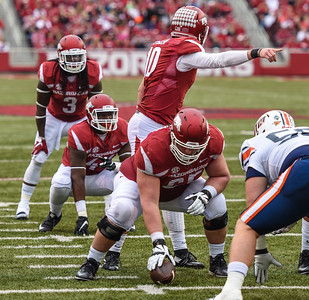 Brandon Allen sets the play during a football game between the Arkansas Razorbacks and the UT Martin Skyhawks in Reynolds Razorback Stadium on October 31, 2015.   Arkansas led 35-14 at the half (Alan Jamison, Nate Allen Sports Service)