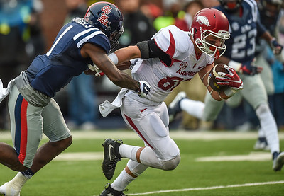 Razorback wide receiver Drew Morgan (80) with a pass reception and a run for a touchdown during a football game between Arkansas and Ole Miss on November 7, 2015.    (Alan Jamison, Nate Allen Sports Service)
