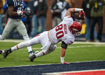 Razorback wide receiver Drew Morgan (80) with a receiving touchdown during a football game between Arkansas and Ole Miss on November 7, 2015.    (Alan Jamison, Nate Allen Sports Service)