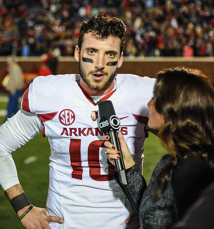 Brandon Allen meets with media after winning a football game between Arkansas and Ole Miss on November 7, 2015.  Arkansas won 53-52 in overtime.    (Alan Jamison, Nate Allen Sports Service)