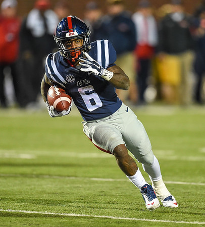Ole Miss Rebels running back Jaylen Walton (6) with a rush during a football game between Arkansas and Ole Miss on November 7, 2015.  Arkansas won 53-52 in overtime.    (Alan Jamison, Nate Allen Sports Service)