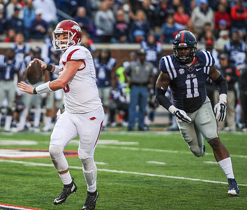 Razorback quarterback Brandon Allen (10) prepares to pass during a football game between Arkansas and Ole Miss on November 7, 2015.    (Alan Jamison, Nate Allen Sports Service)