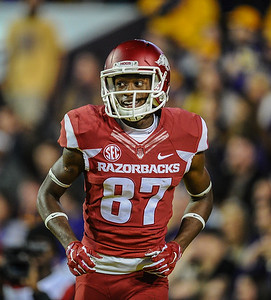 Arkansas Razorbacks wide receiver Dominique Reed (87) after his receiving touchdown during a football game between Arkansas and LSU on November 14, 2015.    (Alan Jamison, Nate Allen Sports Service)