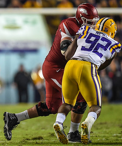 during a football game between Arkansas and LSU on November 14, 2015.    (Alan Jamison, Nate Allen Sports Service)